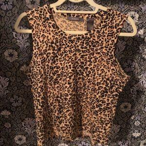 Leopard Animal Print Cutoff Muscle Tank Sz M P